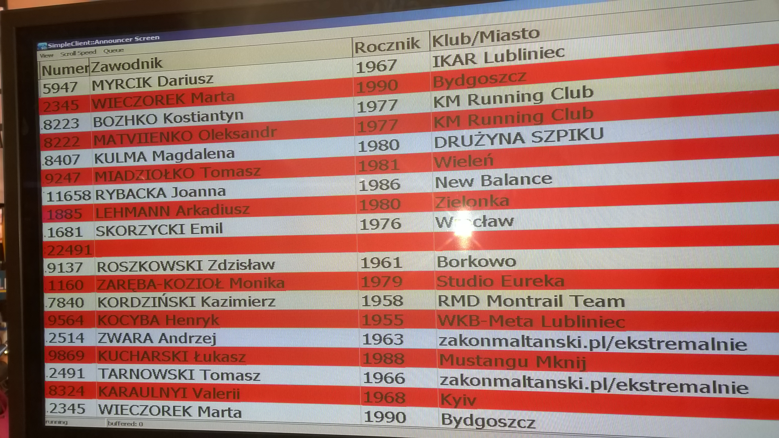 test chipów pomiaru czasu - wyświetlamy się na dole ekranu - jako zakonmaltanski.pl/ekstremalnie